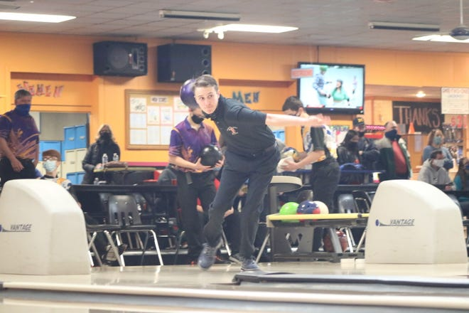 Tecumseh freshman Owen Williams bowls during the qualifying round at Sunday's Lenawee County Championships at Ten Pin Alley. Williams won the boys tournament to make it four straight boys champions for Tecumseh.