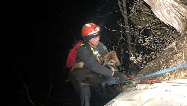 Maury firefighters rescue dog trapped under cliff along Duck River