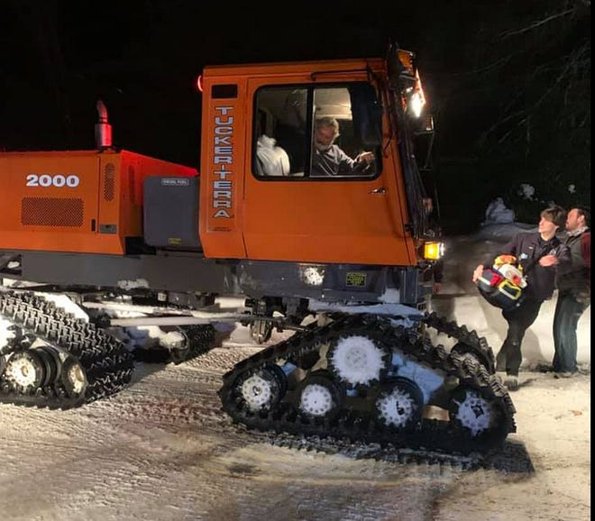 DCNR used this Tucker Terra Sno Cat, normally used for grooming snowmobile trails in the Delaware State Forest, to help reach a heart patient in Porter Township, February 6. / Station 29 photo