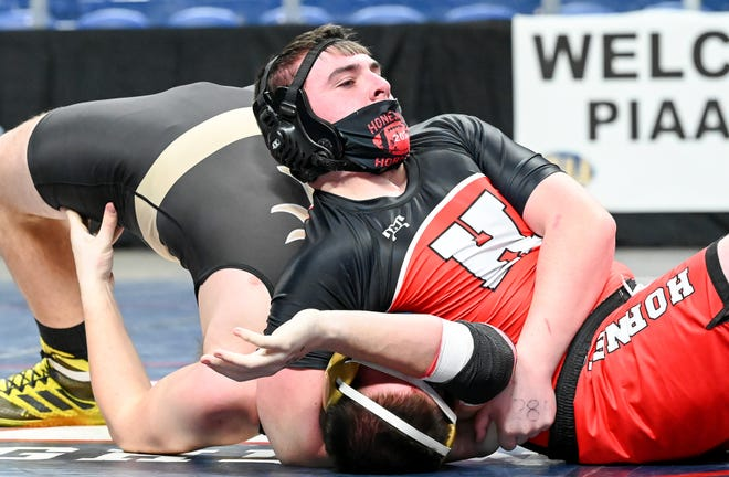 Honesdale's Aaron Phillips has his man right where he wants him during the District Two Individual Wrestling Championships. The Class AA event was held Sunday at Mohegan Sun Arena, where Phillips and his fellow Hornets took third place in the overall team standings.