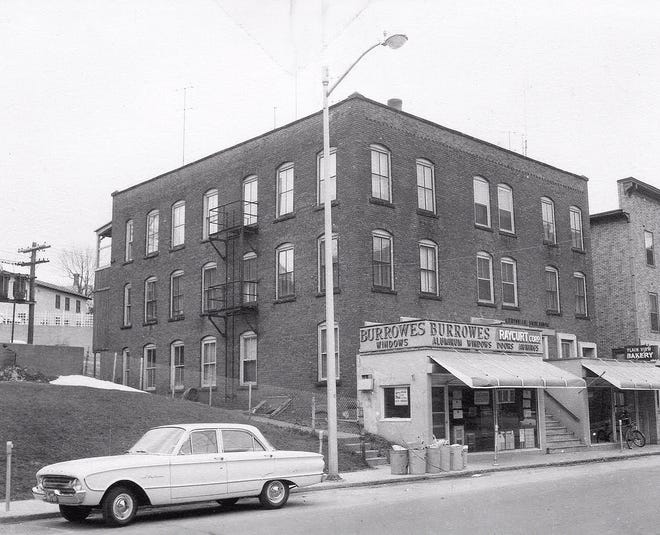A view of the Central Building on Central Street in Gardner circa 1960.
