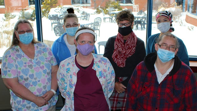 Hammond-Henry Hospital Employees who are also licensed CNAs include, from left, Patty Maynard, Amelia Maynard, Terri Millam, Judy Kuhn, Amy Blaser, Mayra Bretado, Missing from the photo are Ariel Macquarrie and Hazel Butter.