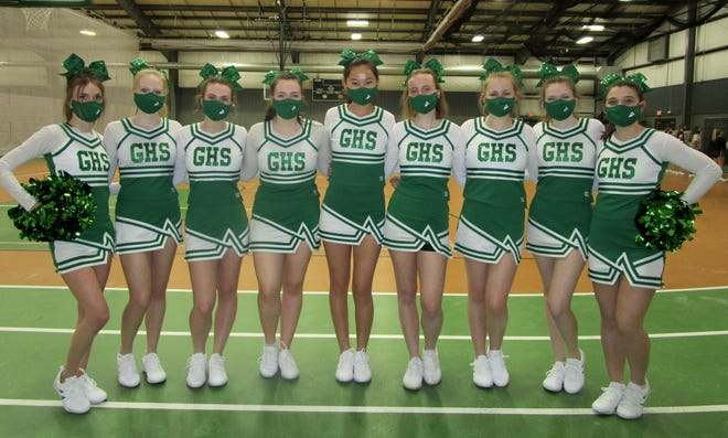 Juniors on the GHS Varsity Cheer Squad are, from left, Eryn VanKlaveren, Abby Krebs, Claire Hofer, Gabbi Elmer, Olivia Egert, Rose Henderson, Reagan Lommell, Emma Miller and Taylor VandeVoorde. Keira Schehl also is a varsity cheerleader, but was absent for the photo.