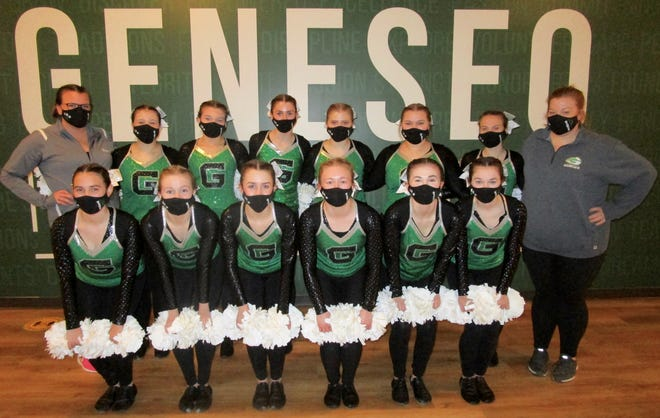 The Geneseo Maplettes will be performing at high school games this year. The squad includes, in front from left, Megan Plumley, Olivia Diericks, Elizabeth Ramp, Olivia Johnson, Breanna Holman, Eleni Andrios; in back form left, Coach Lydia Wayne, Addie Jorgensen, Kara Wolfe, Becca Ramp, Taylor Davis, Xanthia Colter, Skylar Swan and Coach Michelle Fryear. Maelyn Gentry and Ava Perrigo also are Maplettes, but were absent for the photo.