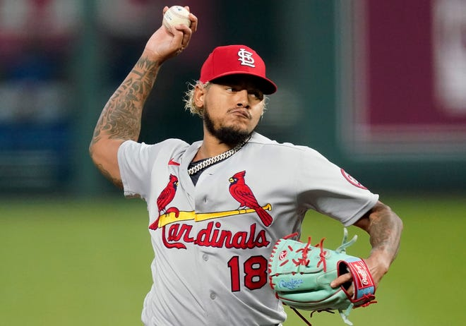 St. Louis Cardinals relief pitcher Carlos Martinez throws during the first inning of a game against the Kansas City Royals on Sept. 23, 2020, in Kansas City, Mo.