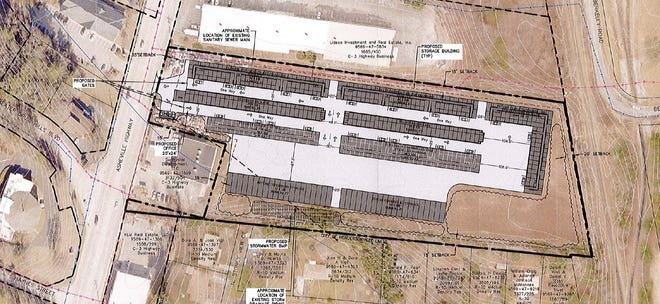 The site plan shows the proposed fourth location of Eagle Ridge Self Storage in Henderson County.