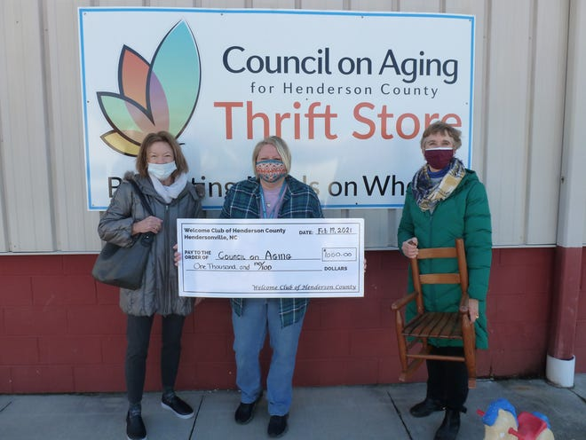 Shown from left to right are Beverly Morris, charity liaison forWelcomeClub; Angie Baney, Thrift Store manager; and Mary Kay Krokowski, presidentof the WelcomeClub.