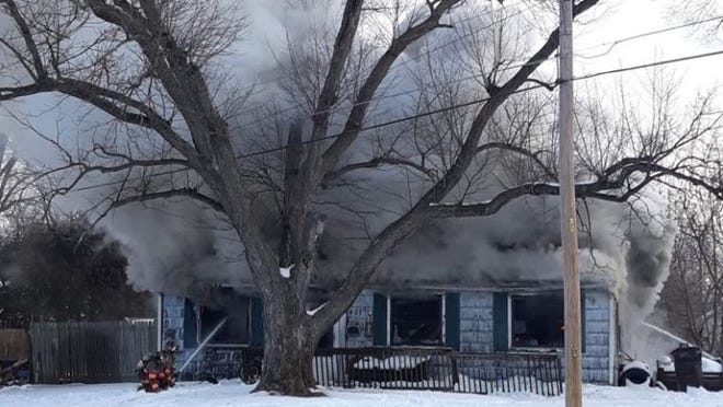 A Saturday fire gutted a house in Marquette Heights, leaving two great-grandparents homeless.