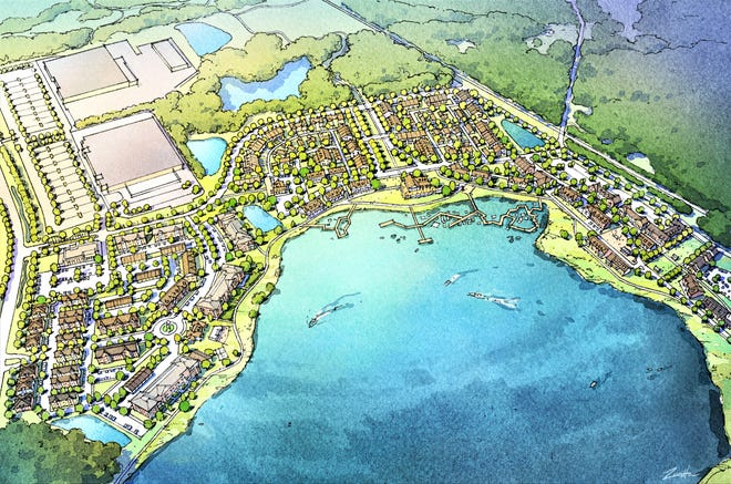 This rendering shows what the proposed Geauga Lake District in Bainbridge might look like when fully redeveloped. Route 43 is on the left, with a planned Menards complex in the upper left. Depot Road is on the right. Geauga Lake Boulevard is planned to run between Menards and the lakeshore area.
