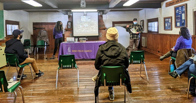 WIU RPTA graduate students Greg Strobel and Kassey Trahanas kicked off a Leave No Trace Awareness Workshop as the first in a series of outdoor skills sessions scheduled at Horn Field Campus this semester.