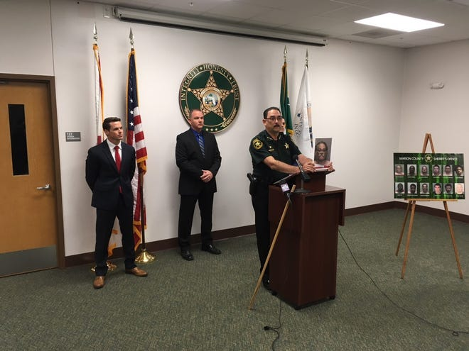 Sheriff Billy Woods addresses the media on Monday. His agency led a sting operation designed to identify and capture people who were seeking sex with children online.
