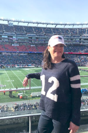 Stacey Cappella at a New England Patriots game she went to with Stephanie. The tickets were donated to The Home for Little Wanderers and it turned out to be Tom Brady's last game as a Patriot.