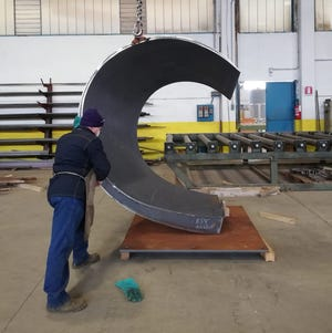 """""""Crispina Senior II,"""" a 500-pound, tapering steel sculpture created by the late American artist Beverly Pepper, is set for display this spring at The Society of the Four Arts. It is being fabricated at the Beverly Pepper Studio in Todi, Italy."""