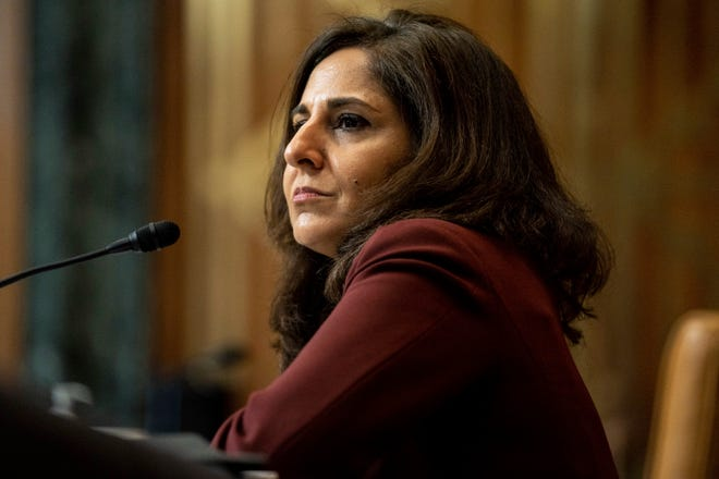 In this Feb. 10, 2021, file photo, Neera Tanden, President Joe Biden's nominee for Director of the Office of Management and Budget (OMB), appears before a Senate Committee on the Budget hearing on Capitol Hill in Washington.