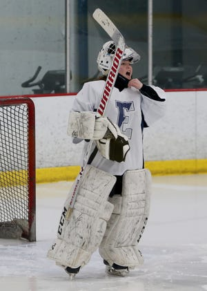 """Exeter senior Zoe Greene had six saves in Monday's Division I girls hockey game against Souhegan. Exeter won 6-0 in the fourth annual """"Stick it to Stigma"""" game."""
