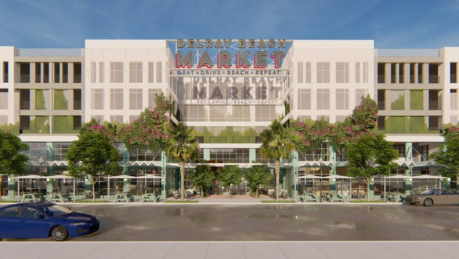 An artist's rendering of the upcoming Delray Beach Market, which is expected to open in downtown Delray this spring. MENIN