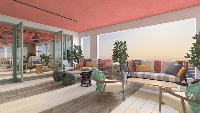 An artist's rendering of a lounge area at the upcoming Delray Beach Market. Menin