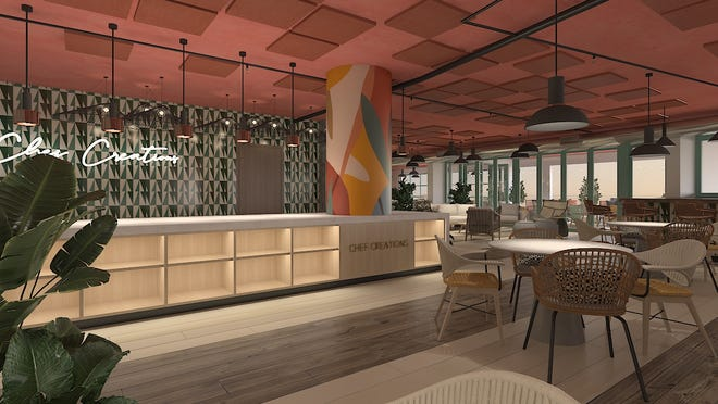 """The Delray Beach Market's mezzanine level features a chef's kitchen for cooking demos, classes and other events. With doors and windows that open to create an indoor/outdoor space, """"The Mezz"""" aims to be a community hub. MENIN/rendering"""