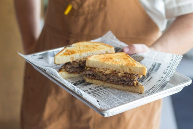 A patty melt at Dad's Favorite Burgers, a diner-inspired stand coming to the Delray Beach Market. SAMUEL THORNHILL/MAS APPETIT