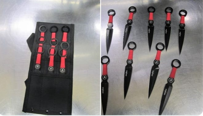 These martial arts throwing knives were found in a passenger's carry-on bag at TF Green Airport over the weekend, the TSA said.