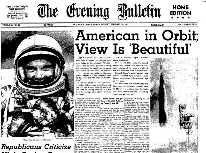 The front page of the Evening Bulletin on Feb. 20, 1962, chronicles John Glenn making history as the first American to orbit the Earth.
