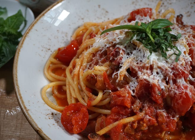 This Roman pasta dish was made by chef Gina Pezza for The Journal's Small Bites cooking feature. It's Bucatini all'Amatriciana.