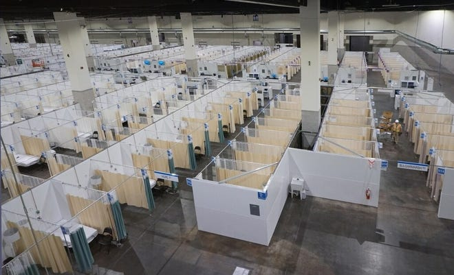 Rhode Island's two COVID-19 field hospitals are being closed because of a drop in COVID positivity rate and hospitalizations. This site was set up at the Rhode Island Convention Center and treated 516 patients, according to Lifespan.