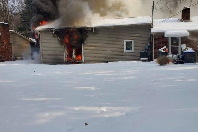 A home on Ravenna Road in Kent caught fire Saturday morning.