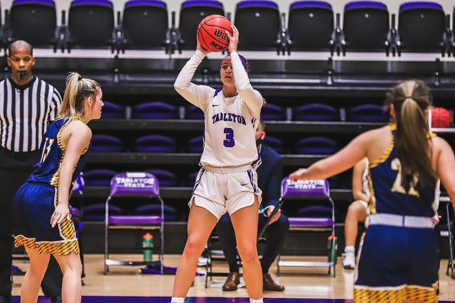 Tarleton's Jayci Morton, a Stephenville native, racked up career-highs in points (16) rebounds (7) and steals (4) in a team-high 28 minutes off the bench to stake Tarleton to its third straight win on Sunday inside Wisdom Gym in the Texans' 71-46 victory over UNT Dallas.