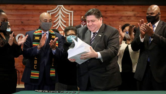Illinois Gov. JB Pritzker, after signing the criminal justice reform bill on Monday, February 22, 2021, at Chicago State University.