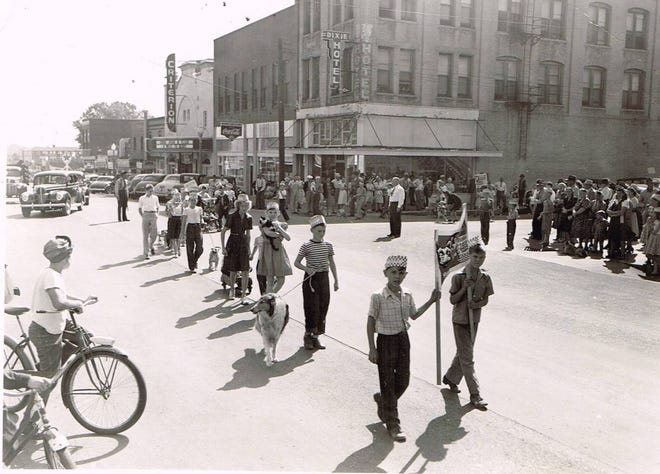 The citizens of Shawnee always loved a parade, and this 1940s Dog Parade on Main Street was attended by thousands of entertained on lookers.