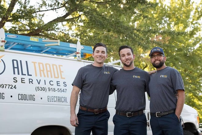 Brothers and owners of All Trade Services in Mount Shasta, left to right: Jake Pritchard, 36, Tim Pritchard, 32, and Morgan Pritchard, 38.