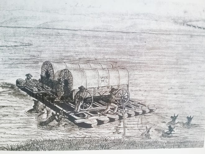 A drawing of an early pioneer's attempt to cross a river.