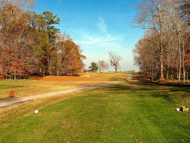 The decades-old walnut tree can be seen on Number 15 from this fall photo from 2014. Carolina Pines Golf and Country Club closed for business in 2016.