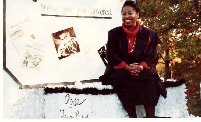 In 1988, Highland-Sharpe rides a float in the NC A&T State University Homecoming Parade.