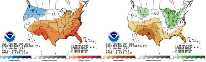 The CPC outlook for March is warmer and a bit less soggy.