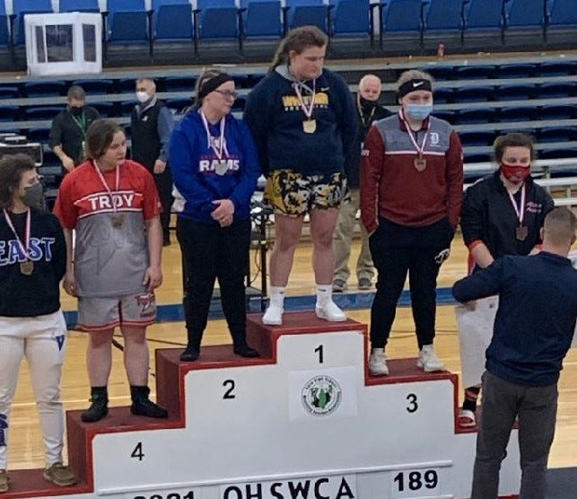 Dover junior Payton Curley became a two time girls State placer Sunday afternoon by earning third place in the 189-pound weight class of the Ohio High School Wrestling Coaches Association Girls State Wrestling Tournament.
