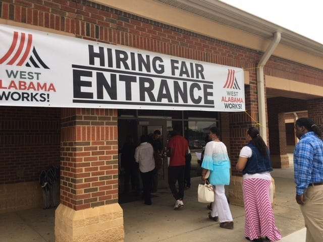 Attendees gather for a job fair hosted by West Alabama Works in this 2018 file photo. Thursday's job fair in Demopolis will be a drive-through event with masks required. [Submitted photo]