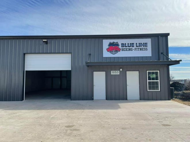 Here is the exterior of the Blue Line Boxing Fitness.