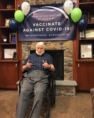 """Bridges by EPOCH at Westford memory care assisted living residents and team members recently received their first round of COVID-19 vaccinations at the end of January, and first up was Hartwig """"Dr. Hart"""" Achenbach — who at the time was just weeks away from his 100th birthday."""