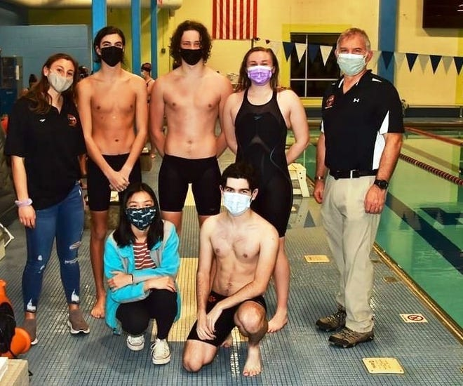 The Beverly High School swim team is shown posing with its coaches. They are, from left, front row, Meredith Luther and Eli Younger. Back row, coach Rachel Grant, Kevin Kelsey, Andriy Krut, Callie Marticio and coach Dave Swensen.
