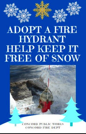 The Concord Department of Pubic Works asks the public to help keep fire hydrants free of snow.
