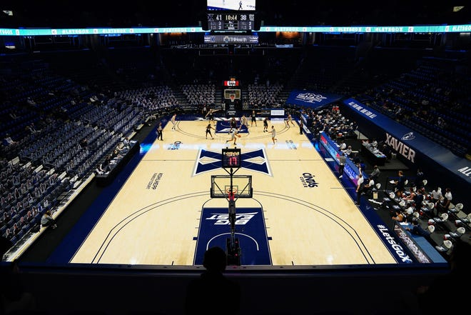 General view of second-half action of an NCAA men's college basketball game between the Butler Bulldogs and the Xavier Musketeers, Saturday, Feb. 20, 2021, at Cintas Center in Cincinnati. The Xavier Musketeers won, 63-51.