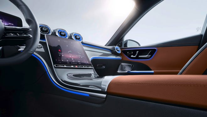 The 2022 Mercedes-Benz C-class sports a majestic, 11.9-inch console screen.