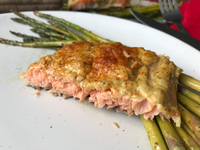 "Dijon, Parmesan and mayonnaise make a quick and tasty topping for baked salmon. It's one of nearly 60 recipes in ""The Unofficial ALDI Cookbook"" by Wisconsin author Jeanette Hurt."