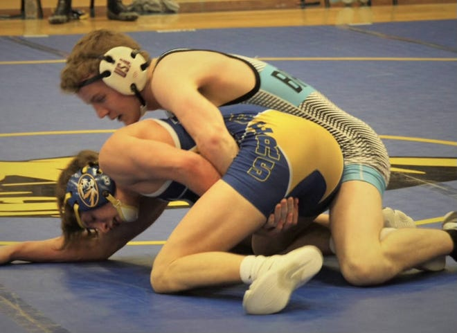 Union County's Glenn Mayes takes on an opponent from Caldwell County during Saturday's Caldwell County Duals in Princeton.