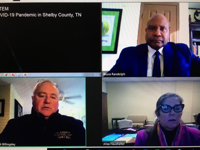 Shelby County Commissioner Mark Billingsley (lower left) speaks with Shelby County Health Officer Dr. Bruce Randolph (upper right) and Alisa Haushalter, director of the Shelby County Health Department, in this screen shot of video conference public meeting on Monday, Feb. 22, 2021.