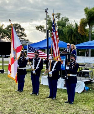 The ceremony was lead by Alan and Linda Sandlin with the Lely High School Junior ROTC presentation of the colors.