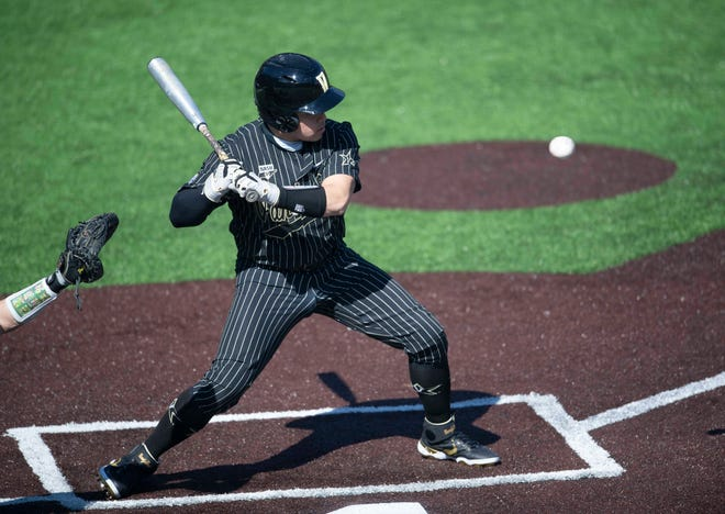 Vanderbilt Commodores's CJ Rodriguez (5) doesn't swing just as the ball passes towards Wright State's catcher during the first inning at Hawkins Field in Nashville, Tenn., Monday, Feb. 22, 2021.