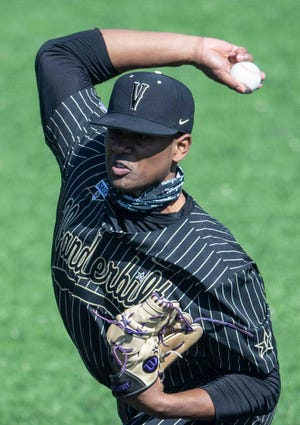 Vanderbilt's Kumar Rocker, who is widely projected to be selected with a top-5 pick in this summer's MLB Draft, pitches against Wright State on Feb. 22 in Nashville, Tenn.